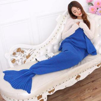 YingWei Mermaid Tail Blanket Crochet Mermaid Blanket for BabyInfant Kids Sofa Quilt Living Room Bedroom Camping Warm Soft AllSeasons Seatail Sleeping Bag Blanket Sleeping Throws 90 * 50cm(Dark Blue) - intl - 2