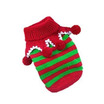 yoggus Dog Christmas Costume Pet Puppy Cat Sweater Coat Clothes (L) - intl
