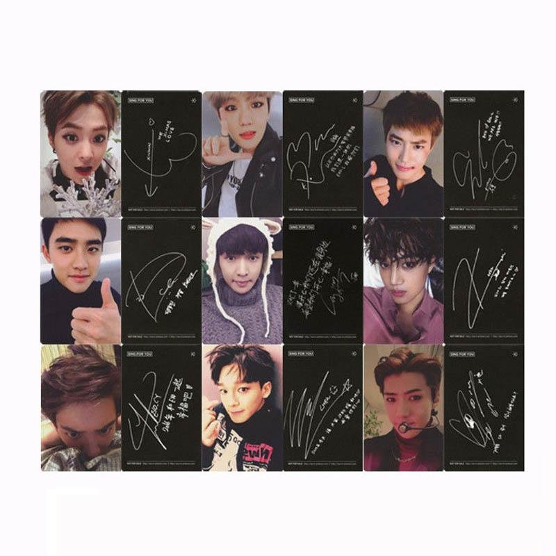 Youpop KPOP EXO Sing For You Chinese Album Photo Card Self MadePaper Cards Autograph Photocard XK332