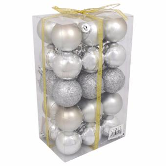 Yuletide Christmas Balls Round Shiny Multi-Texture Christmas DecorSET OF 30 (Large, 6.5cm)