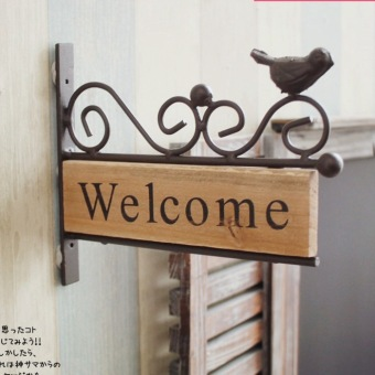 Zakka American-style Rural Idyllic Iron Wood Welcome Sign