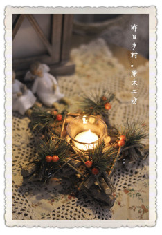 Zakka rustic American natural tree candle holder wreath