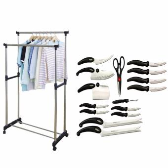 Zea Adjustable Double Pole Clothes Rack with Complete 13-Piece Knife Set