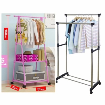 Zea Heavy Duty Garment Rack (Pink) with Adjustable Double PoleClothes Rack