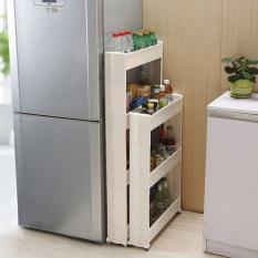 Zhuoda Moving Kitchen Storage Shelf Wall Cabinets White 4 LayersIntl