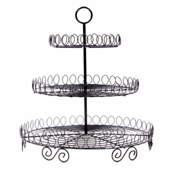 Zover 3-Levels Iron Stokes Cupcake Stand Ideal for Parties (Black)