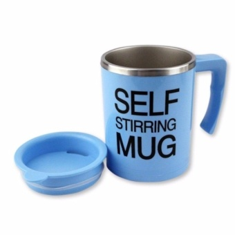 Zover 350ml Stainless Steel Self Stirring Coffee Mug (Blue)