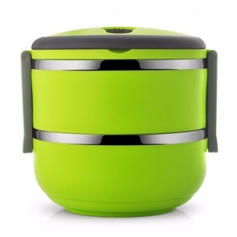Zover Good Quality Non-Toxic Bilayer Plastic Steel Lunch Box NoLeaking and Easy to Carry (Green)