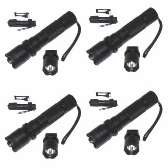 Zover Rechargeable Police Flashlight with Stun Gun Taser Set of 4 (Black)