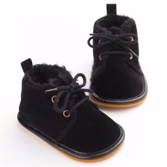 0-18M Baby Boy Shoes Cute Leather Baby Oxford Soft Sole Crib Shoes(Black)