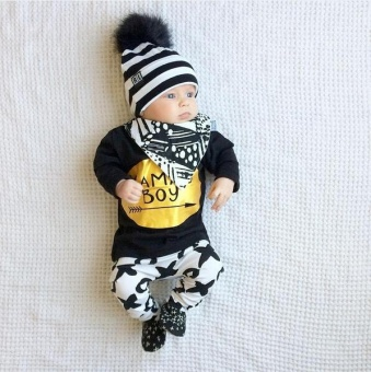0-24M New born Baby Boys Outfits Fashion Mama Boy Long Sleeve BlackCotton Love T-Shirts+Pants Clothing Sets Suit - intl