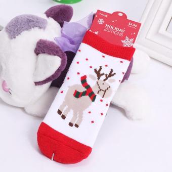 1 Pair New High Quality Baby Christmas Thick Socks Winter Style Cotton Anti-slip Children Soft Socks Infant Baby Boy Girl Christmas Gift Socks 1-6Y - intl