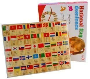 100 wooden cognitive flag Domino toys