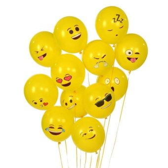100PCS Birthday Party Latex Balloons Emoji Sources Smile Face Decoration - intl
