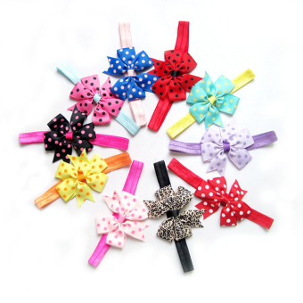 10pcs Baby Girls Satin Headband Hair Bow Band Accessories