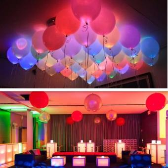 10PCS LED Balloons 12 Inches Latex Multicolor Lights Helium Balloons Christmas Hollween Decor Wedding Birthday Party Supplies - intl