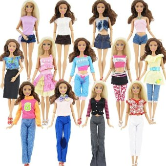 10Pcs/5 Sets Random Skirt/Shirt/Jacket/Trousers Clothes For Barbie Doll - intl