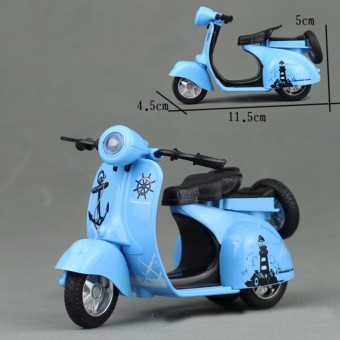1:14 Scale Mini Diecast Vespa Scooter Motorcycles with Light&Sounds-Blue