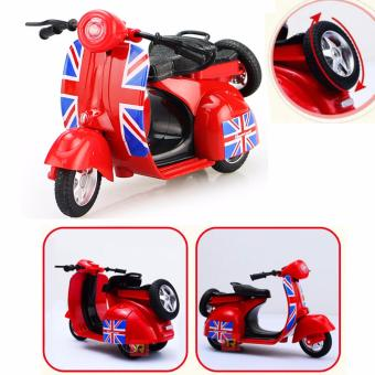 1:14 Scale Mini Diecast Vespa Scooter Motorcycles with Light&Sounds-Red