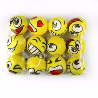12 pcs Emoji Smile Face Emoticon Soft Bounce Stress Balls Fun Gift Party Giveaway Stress Reliever Party Favors,Toy Balls,Party Toys - intl