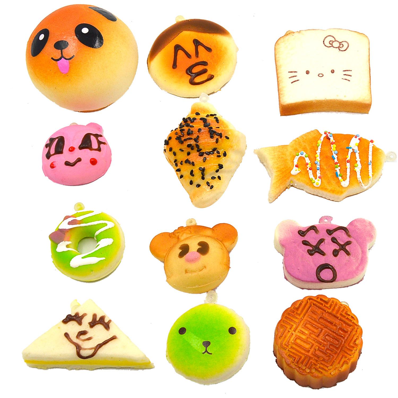 12 Pcs Kawaii Mini Squishy Soft Simulated Food Panda Bread CakeBuns Pendants Key Rings Keychains Phone