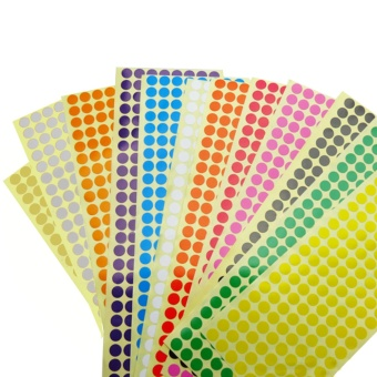 12 Sheets Assorted Color Removable Color Coding Labels Round DotStickers for Crafts Making Notes Marks Playing Games 2304 Dots InTotal - intl Price Philippines