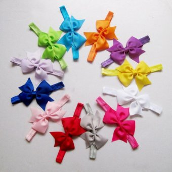 12pcs Baby Girl Satin Headband Hair Bow Band Accessories - intl - 4