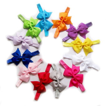 12pcs Baby Girls Satin Headband Hair Bow Band Accessories