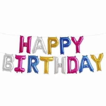 13 Pcs. 16 inches Happy Birthday Letters Foil Inflatable Air-filled Printed Balloons