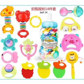 14PCS/Set Baby Intelligence Toys Rattles and Teether Jingle BallRing Baby Rattles Toys - intl