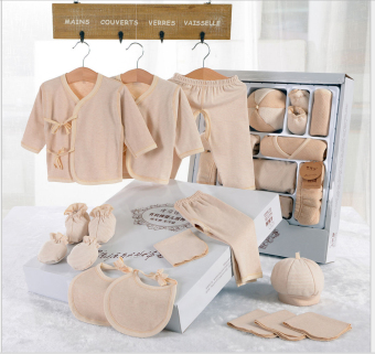 15Pcs In A Pack Newborn Baby Clothes Baby Organic Cotton (LightBrown)