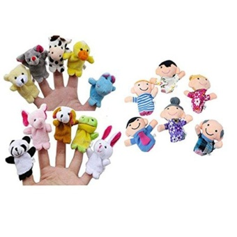 16PC Finger Puppets Animals People Family Members Educational Toy - intl
