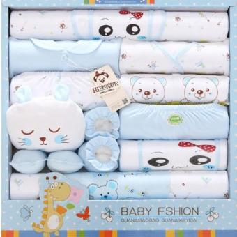 18pcs/set Newborn Babies Cotton Clothing Baby Boys Girls Print Suits Toddlers Clothes + Accessories - intl