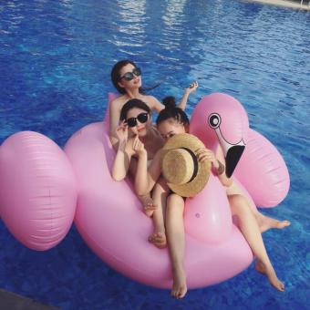 1.9M Giant Swan Inflatable Pink Flamingo Ride-On Pool Floating Toy- intl - 3