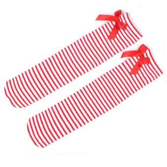 1Pair Cute Kids Baby Socks Children Leg Warmers Bowknot Cotton Stockings Socks-Red and white stripes (Intl)