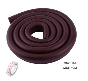 1Pc 2M U-Shape Glass Table Edge Cushion Cover Corner Guard BumperStrip With Tape (Brown) - intl