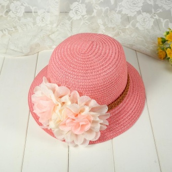 1Pc Baby Girls Hat Summer Flower Beach Outdoor Sun Hats Straw CapFor 2-7 years Kids (#1 Pink) - intl - 4