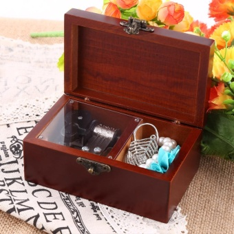1Pc Solid Wood Miniature Cassical 8 Note Wind Up Music Box Jewelry Case Musical Toys(Edelweiss) - intl