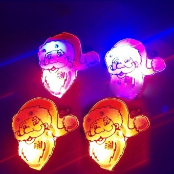 1PCS Christmas LED Flash Light Brooch Pin Badge Light Up Toys,Santa with Hat - intl - picture 2