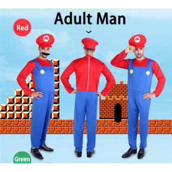 (1Set Adult Size L 175-185CM-Red)Funy Cosplay Party Dress Up Super Mario Adult Halloween Costumes for Men Women - intl - 4