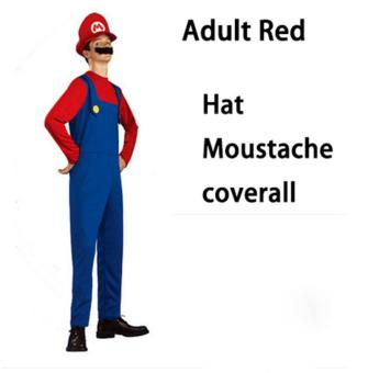 (1Set Adult Size M 165-175CM-Red)Funy Cosplay Party Dress Up Super Mario Adult Halloween Costumes for Men Women - intl