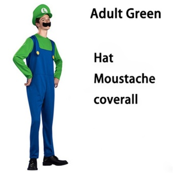 (1Set Adult Size S 150-160CM-Green)Funy Cosplay Party Dress Up Super Mario Adult Halloween Costumes for Men Women - intl
