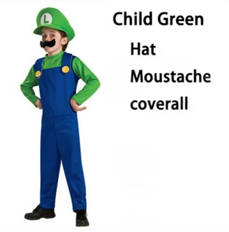(1Set Kids Size M 115-125CM-Green)Children Funy Cosplay Party Dress Up Super Mario Halloween Costumes for Boys Girls - intl