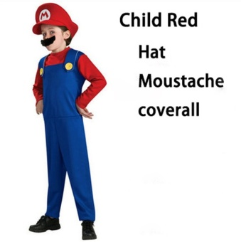 (1Set Kids Size XL 135-145CM-Red)Children Funy Cosplay Party Dress Up Super Mario Halloween Costumes for Boys Girls - intl