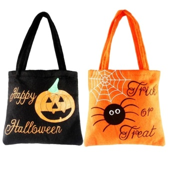 2 Pack Halloween Tote Bag Pumpkin Spider Trick or Treat Bag JewelryCandy Bag for Kids - intl