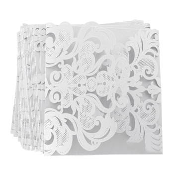 20 PCS White Hollow Design Personalized Wedding Party InvitationCard Birthday Festival Party Invitation Card - Intl