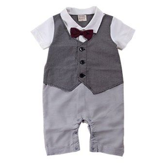 2015 New Fashion Infant Boy One Piece Gentelman Style BowknotJumpsuit Baby Boy Formal Romper