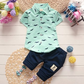2017 New Arrival 2pcs/Set Polo Shirts Clothing Set for Children Kids Boys 80cm - intl