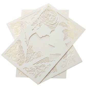 20pcs Romantic Laser Cut Wedding Invitation Card Bride Groom Carved Pattern Wedding Card Hollow Out Wedding Banquet Party Favor - 2