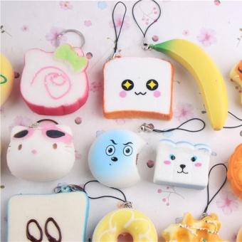... 20pcs Small Soft Squishy Foods Cute Doughnuts Cakes Breads HandbagPendant Buns Phone Straps Decoration - Random ...